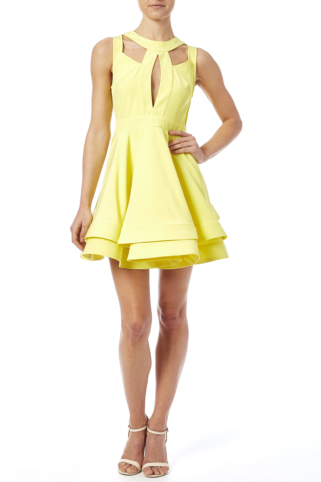 luxxel Cutout Flare Dress - Front Full Image