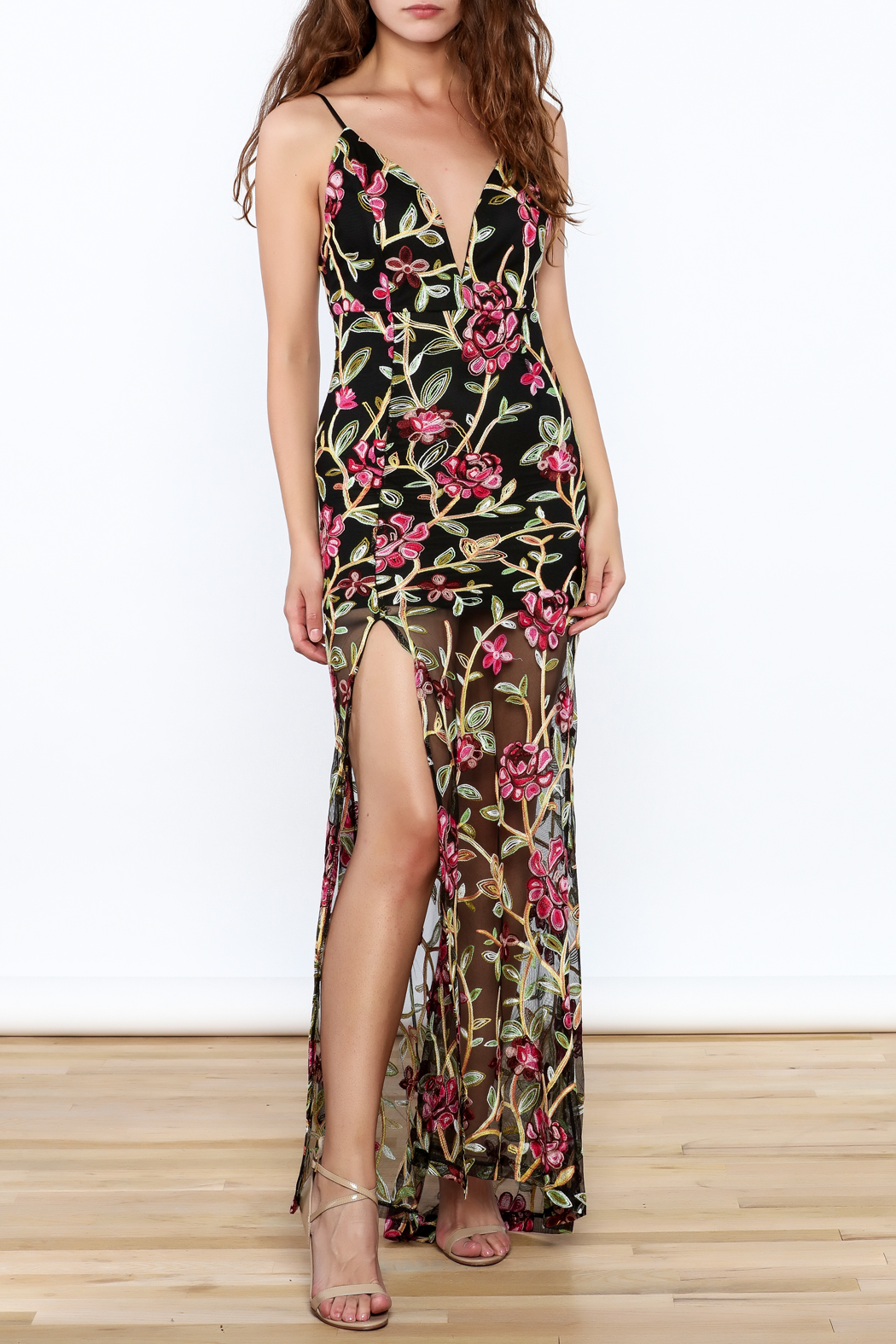 luxxel Embroidered Lace Maxi Dress - Main Image