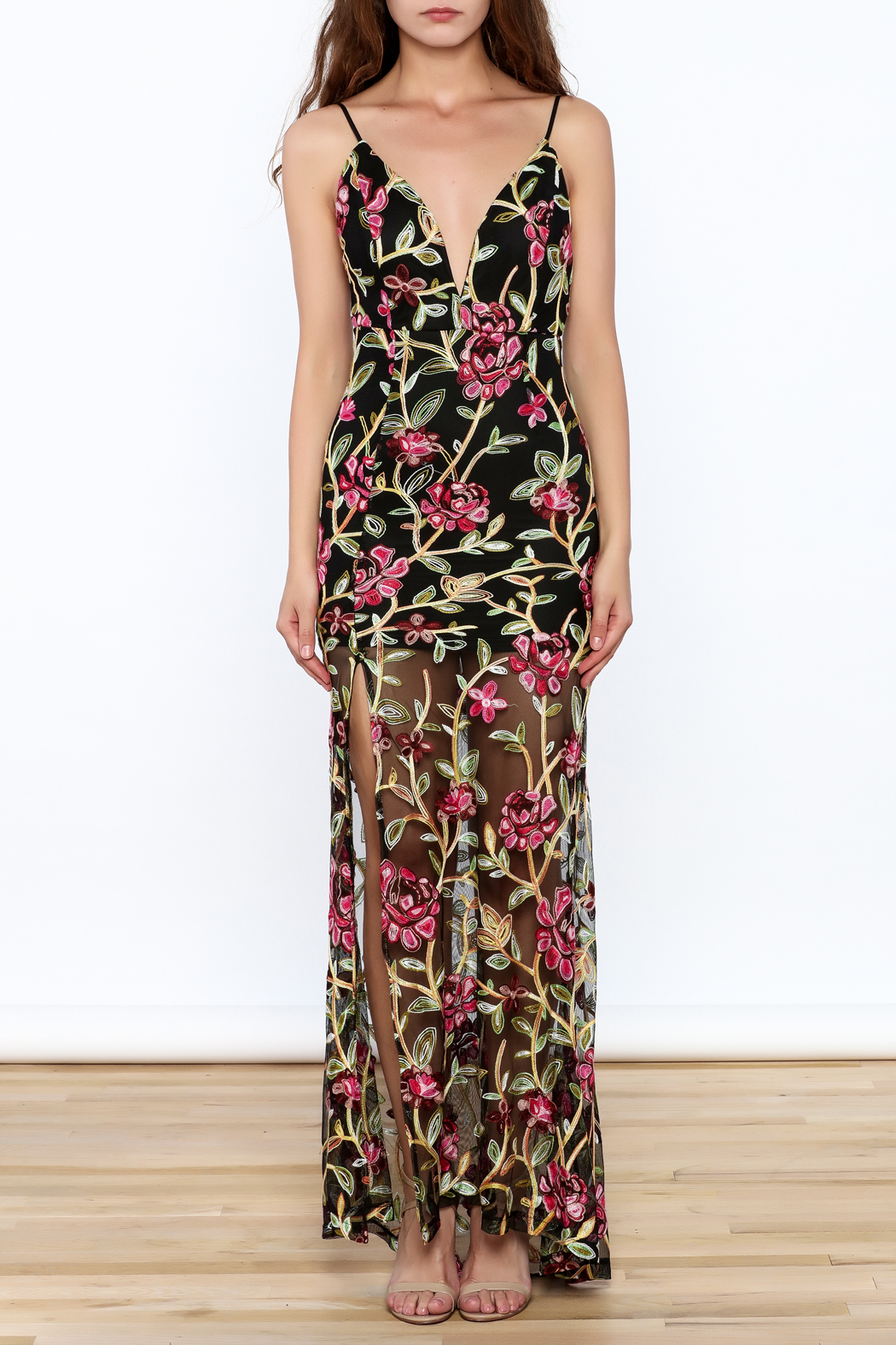 luxxel Embroidered Lace Maxi Dress - Front Full Image