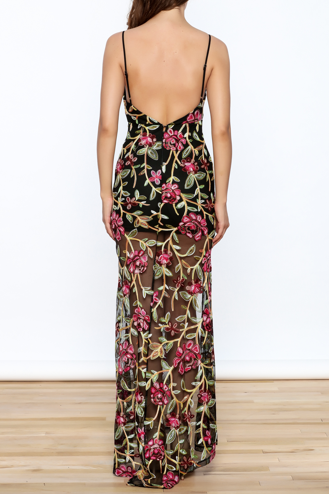 luxxel Embroidered Lace Maxi Dress - Back Cropped Image