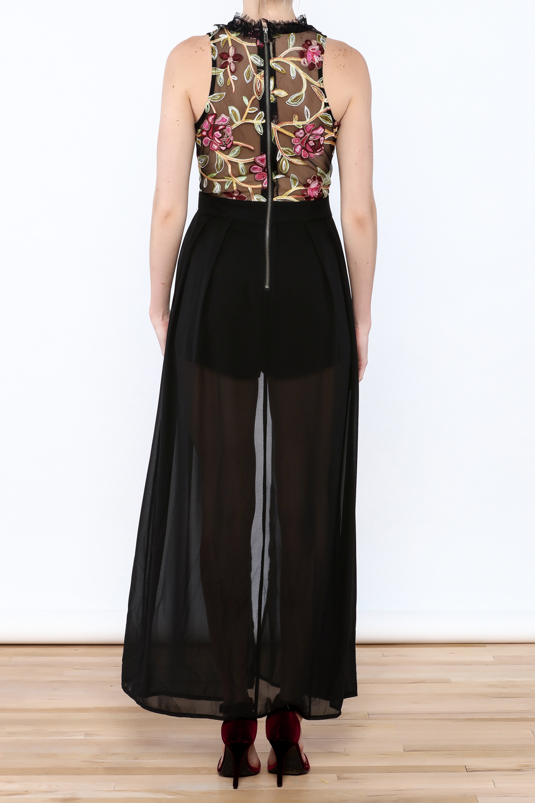 luxxel Embroidered Maxi Romper - Back Cropped Image