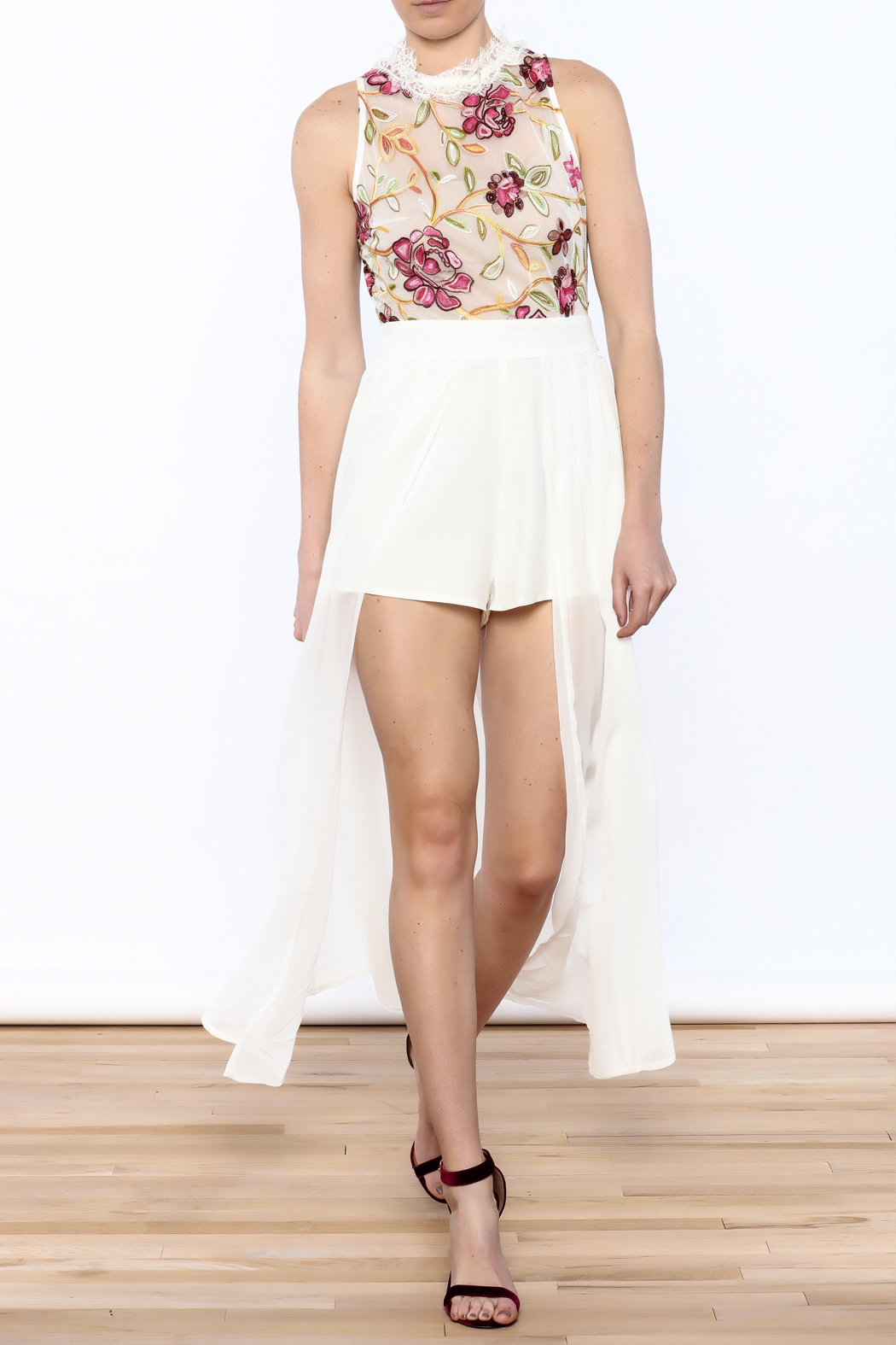 luxxel Embroidered Maxi Romper - Main Image