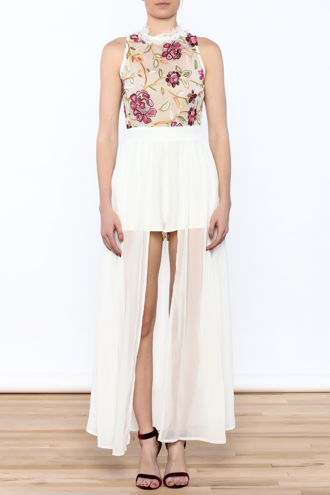 luxxel Embroidered Maxi Romper - Front Full Image