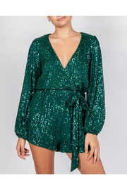 luxxel Emerald Sequin Romper - Front cropped