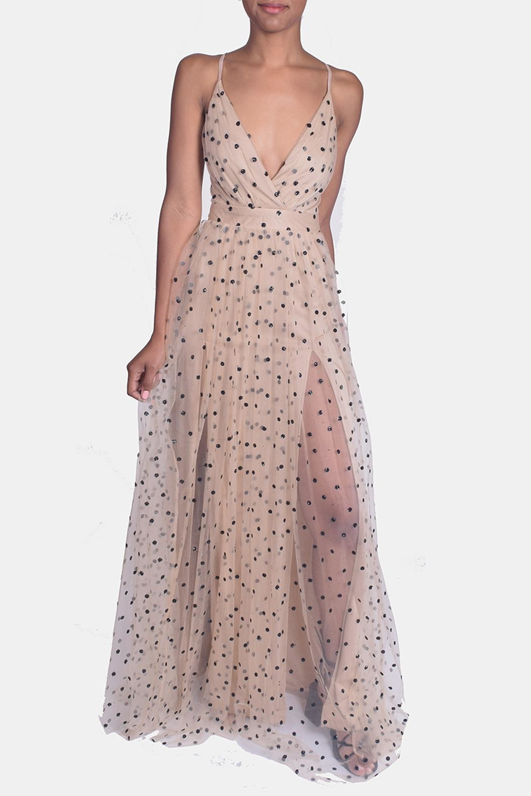 luxxel Enchantress Polka Dotted Gown - Front Full Image