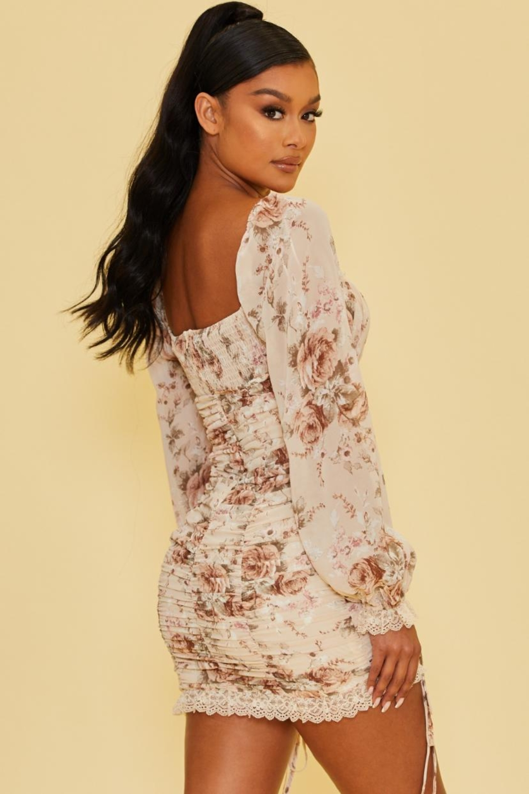 luxxel Floral Chiffon Dress - Front Full Image