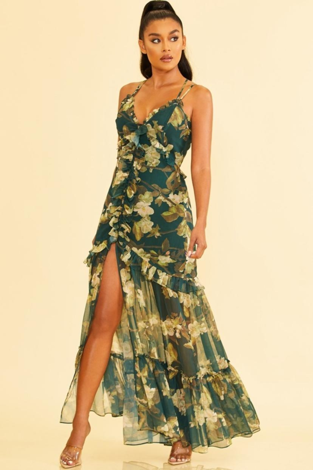 luxxel Floral Chiffon Dress - Main Image