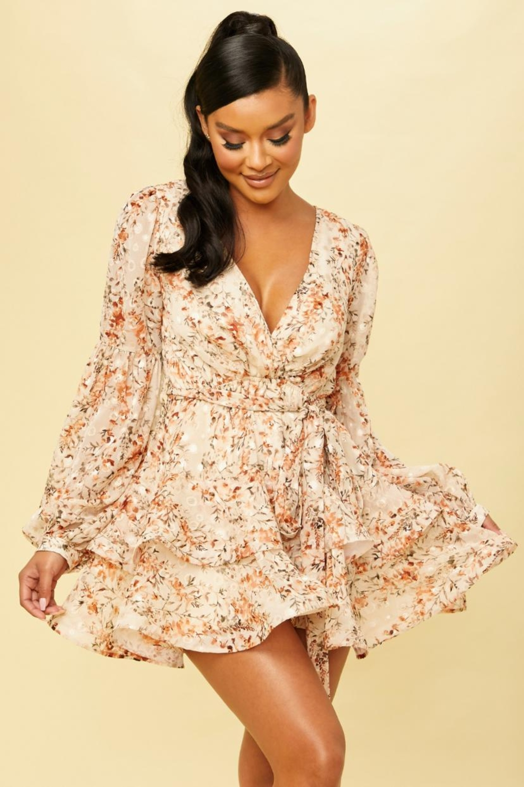luxxel Floral Flare Dress - Main Image