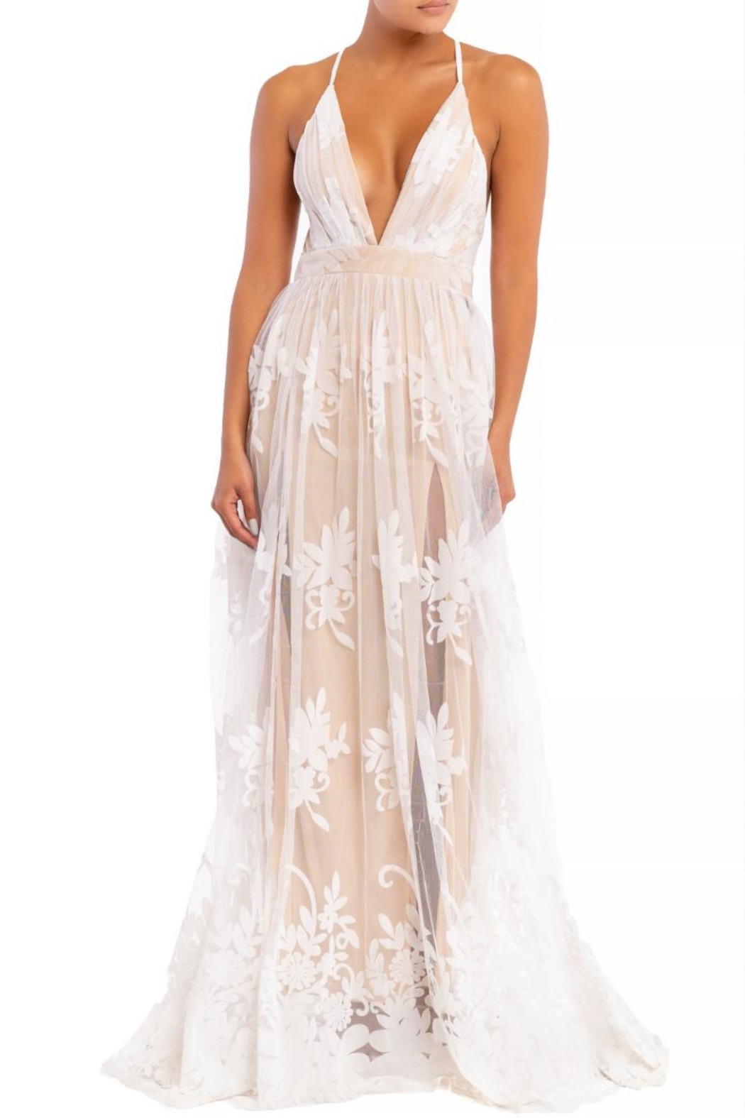 luxxel Floral Flocked Maxi - Main Image