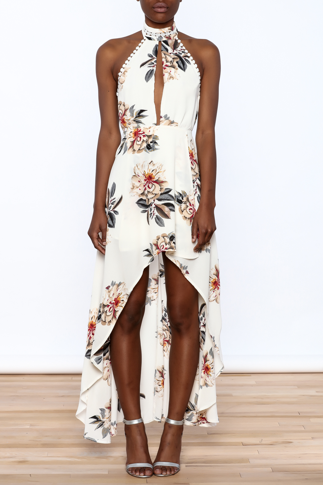 luxxel Floral Maxi Romper - Front Cropped Image