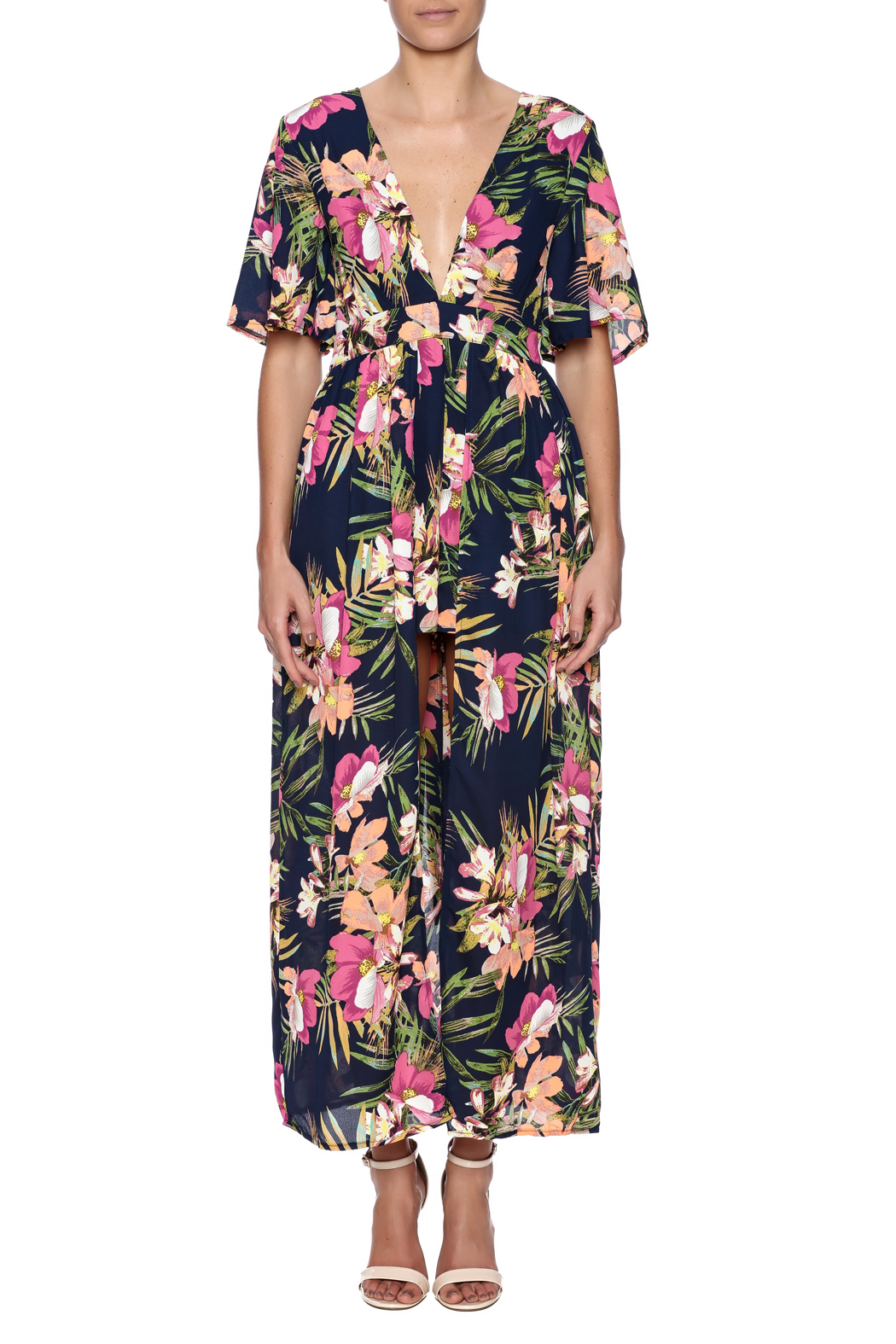 7545074a587 luxxel Floral Skirt Overlay Romper from Charleston by Apricot Lane ...