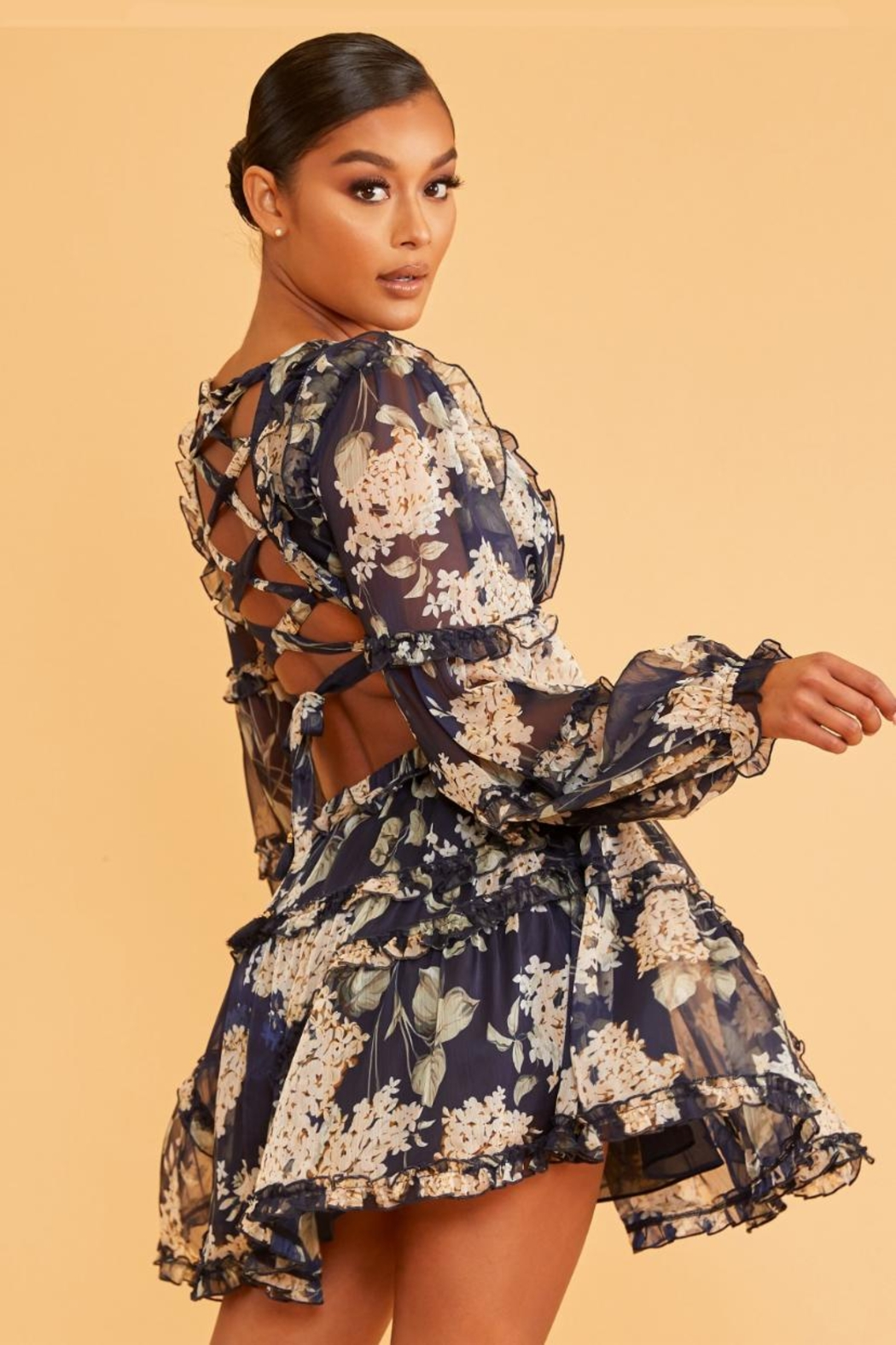 luxxel Floral Mini Dress - Front Full Image