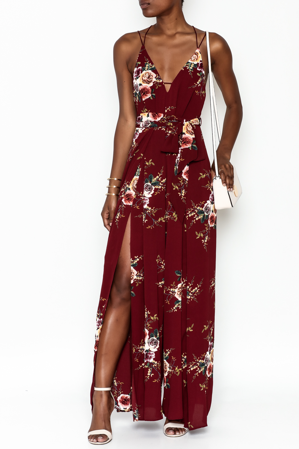 luxxel Floral Open Jumpsuit - Front Cropped Image