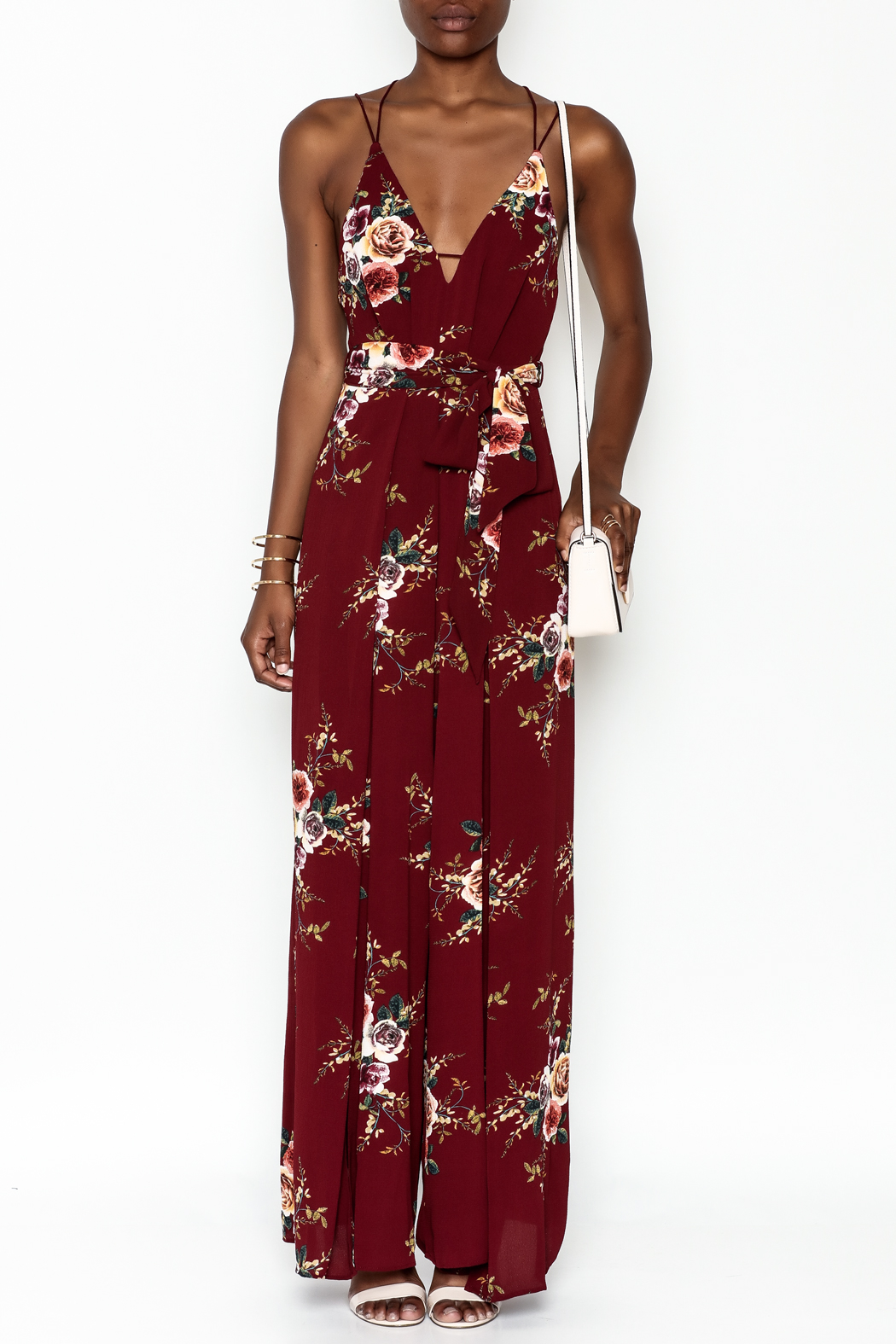 luxxel Floral Open Jumpsuit - Front Full Image