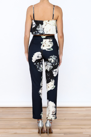 luxxel Navy Floral Pant Set - Back cropped
