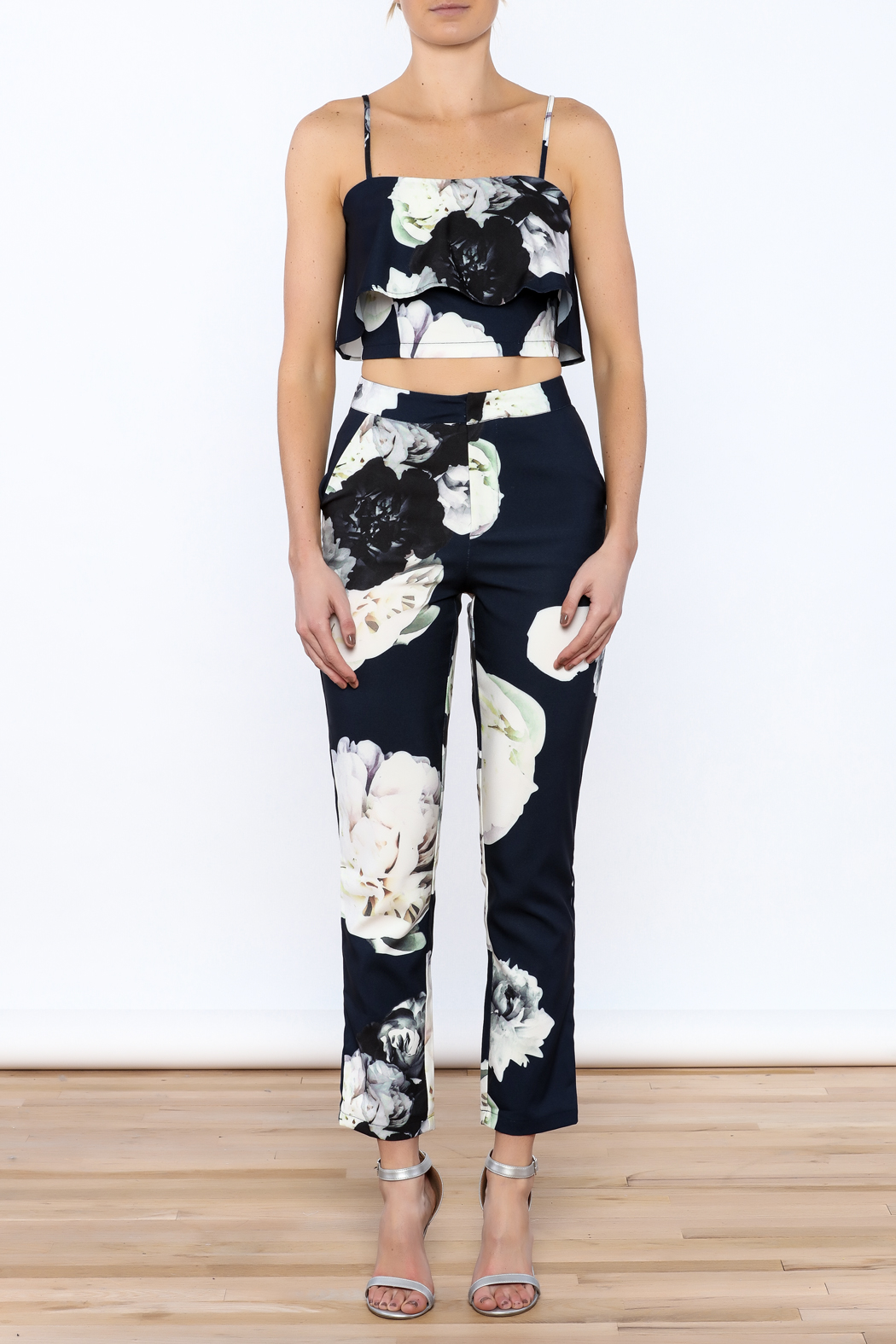 luxxel Navy Floral Pant Set - Front Cropped Image