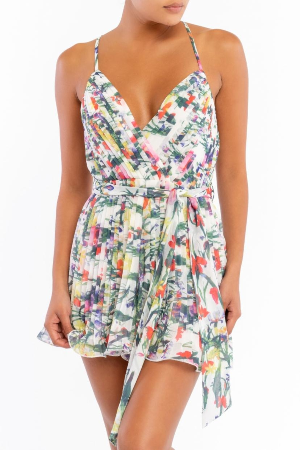 luxxel Floral Pleated Romper - Main Image