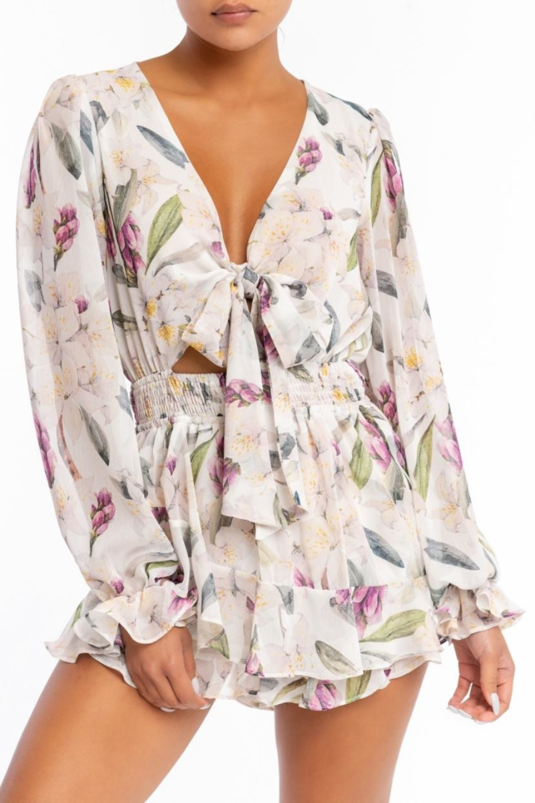 luxxel Floral Ruffle Romper - Main Image