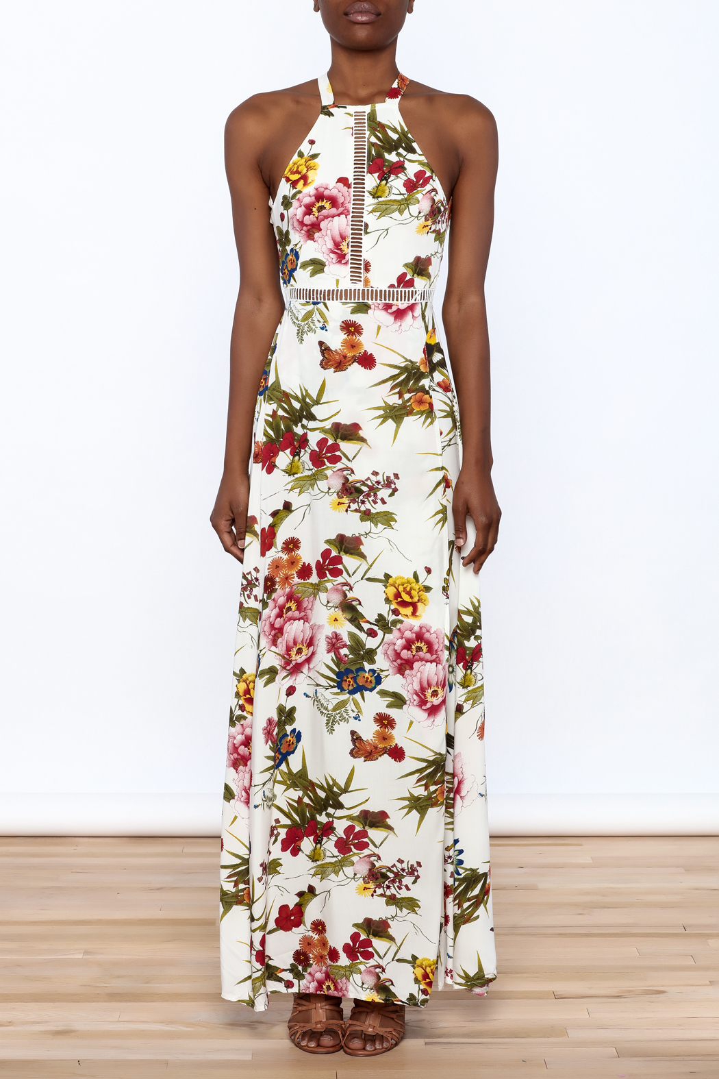 luxxel Garden Wrap Maxi Dress - Front Cropped Image