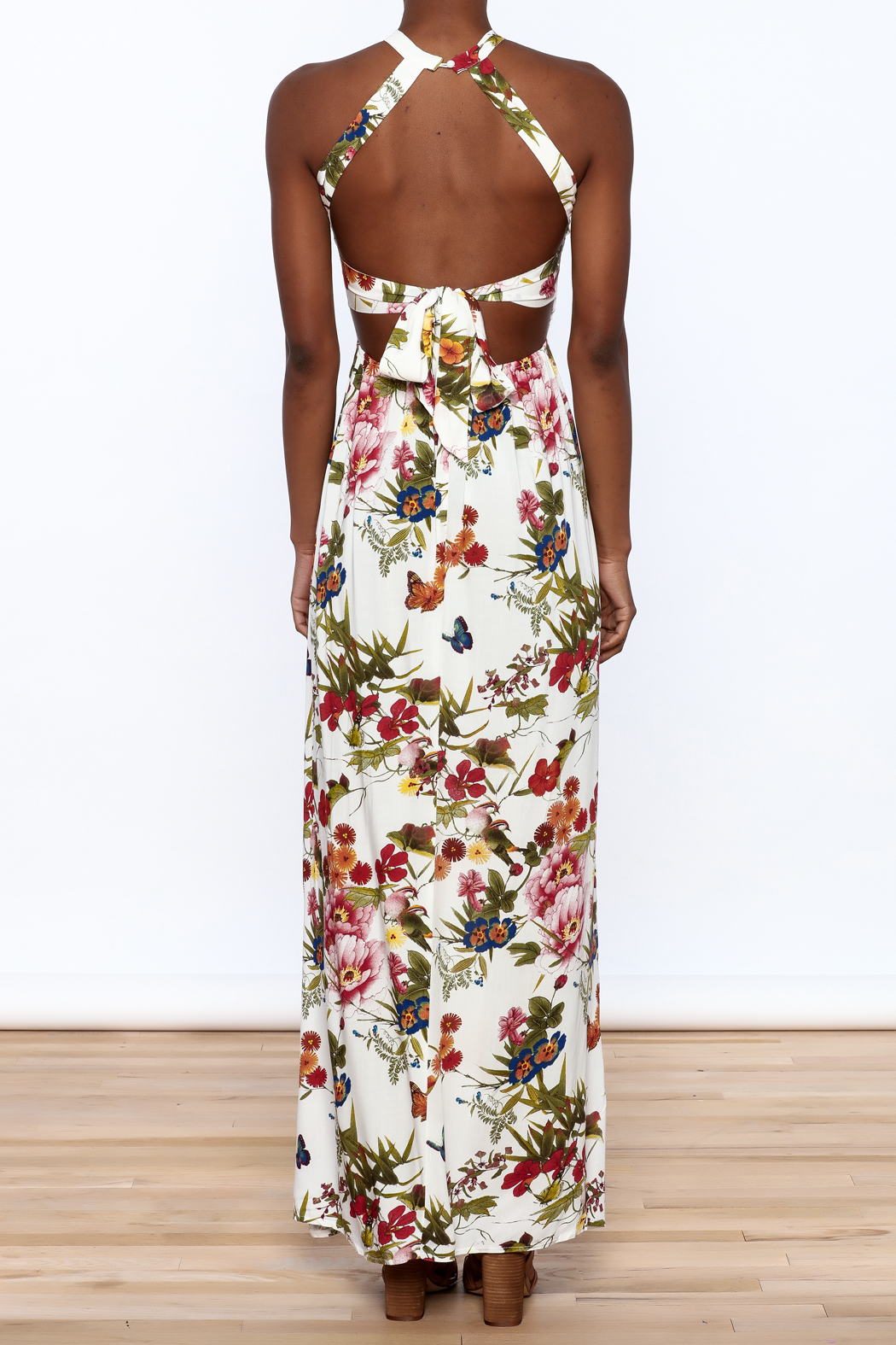 luxxel Garden Wrap Maxi Dress - Back Cropped Image