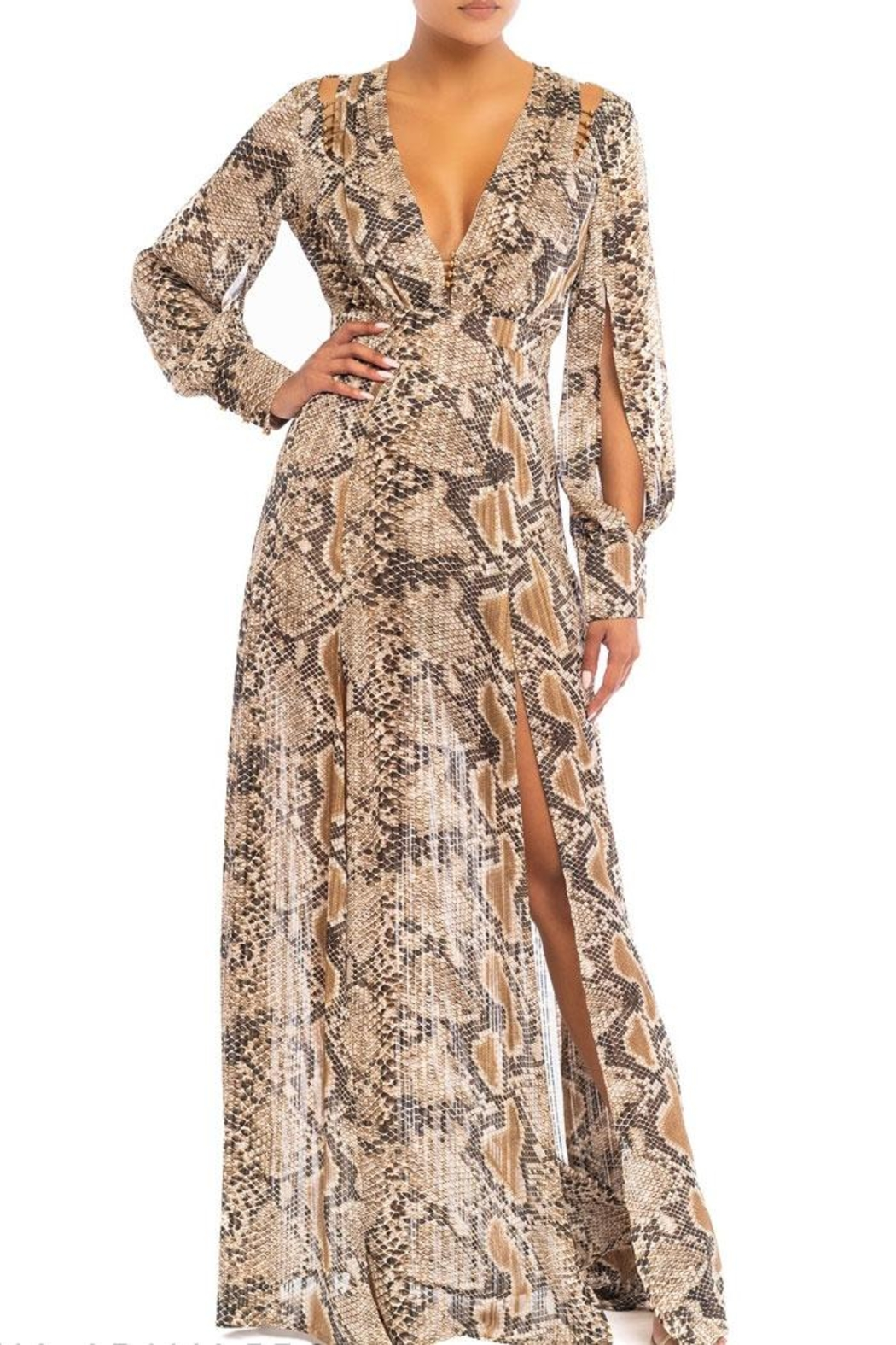 luxxel Gold Bead Snake Maxi Dress - Main Image