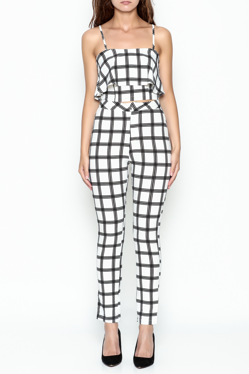 luxxel Gridlines Pant Set - Front Full Image