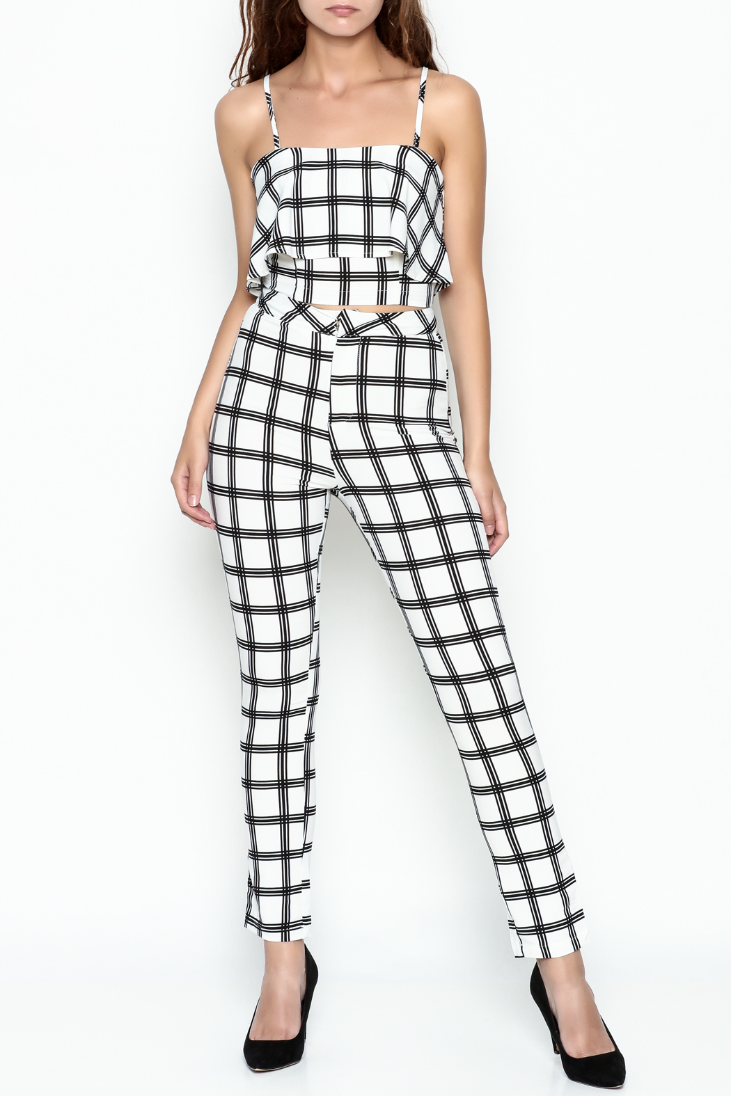 luxxel Gridlines Pant Set - Front Cropped Image