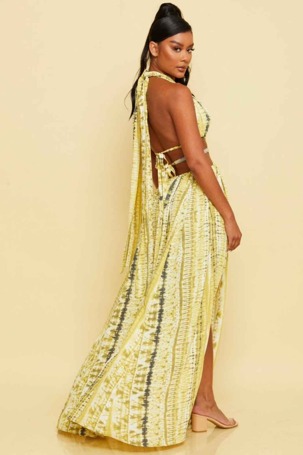 luxxel Halter Maxi Dress - Front Full Image