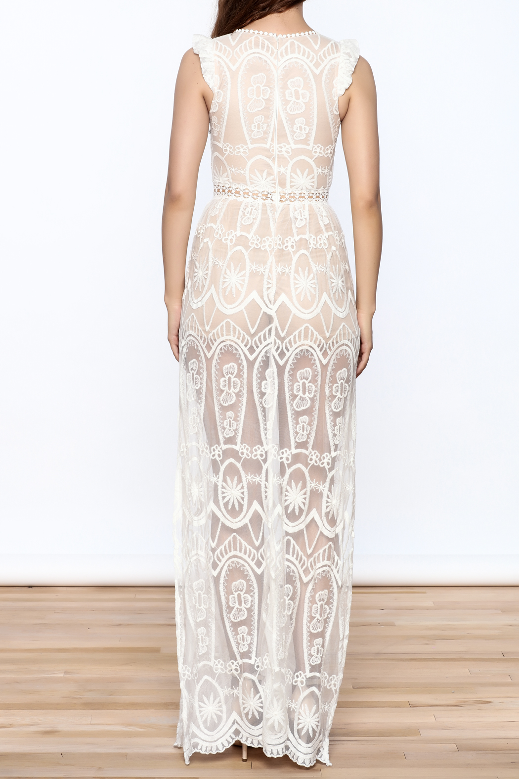 luxxel Lace Mesh Maxi Dress - Back Cropped Image