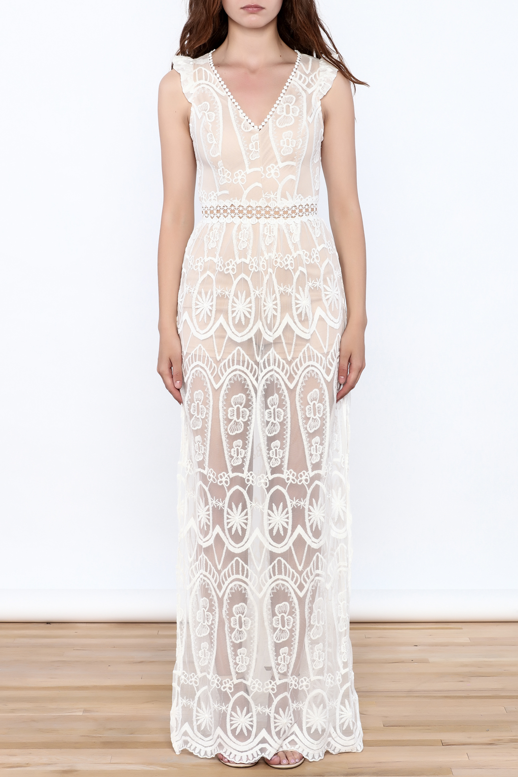 luxxel Lace Mesh Maxi Dress - Front Cropped Image
