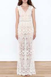 luxxel Lace Mesh Maxi Dress - Front cropped