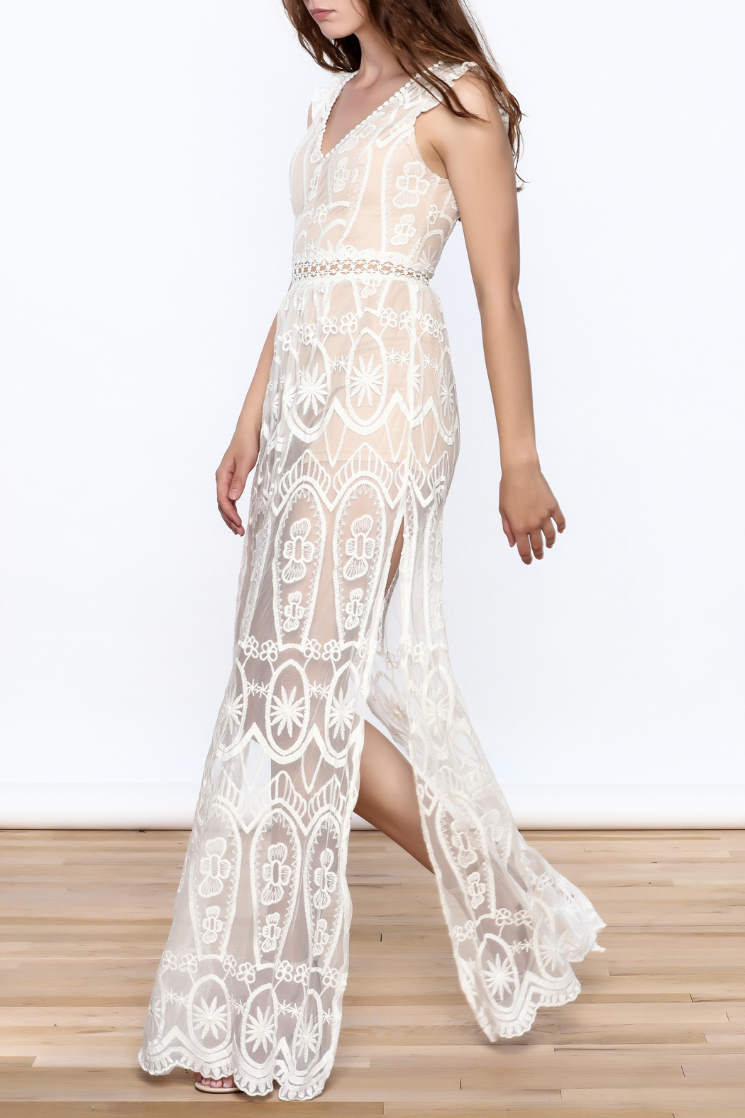 luxxel Lace Mesh Maxi Dress - Front Full Image