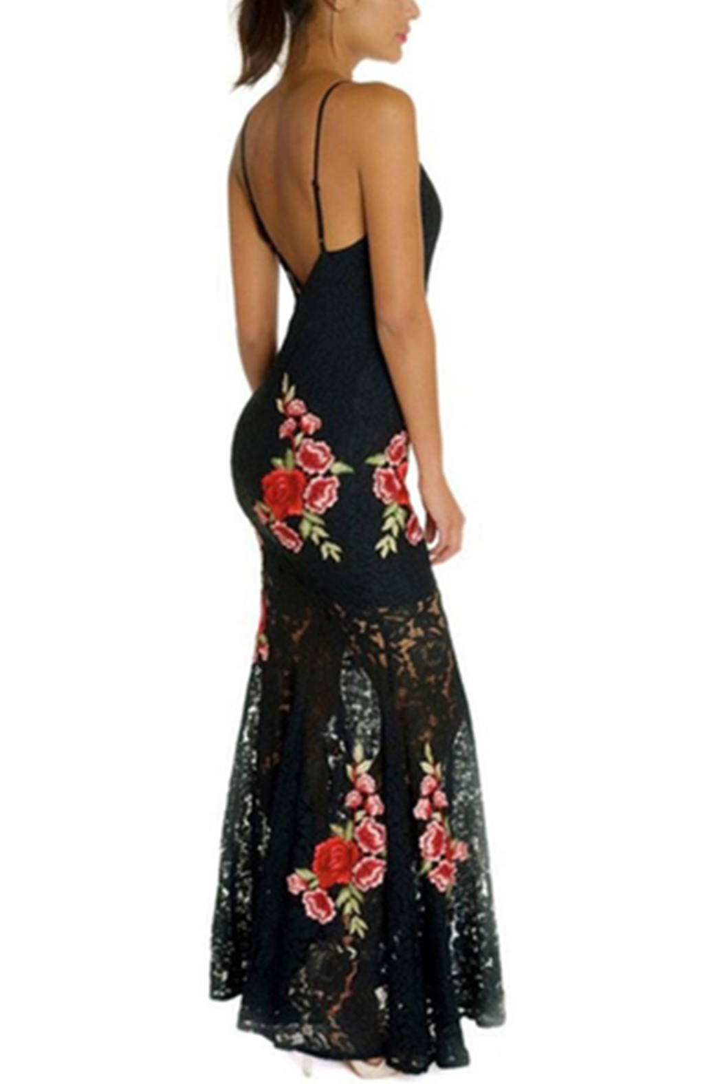 luxxel Lace Patch Maxi-Gown - Front Full Image