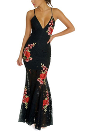 luxxel Lace Patch Maxi-Gown - Front cropped