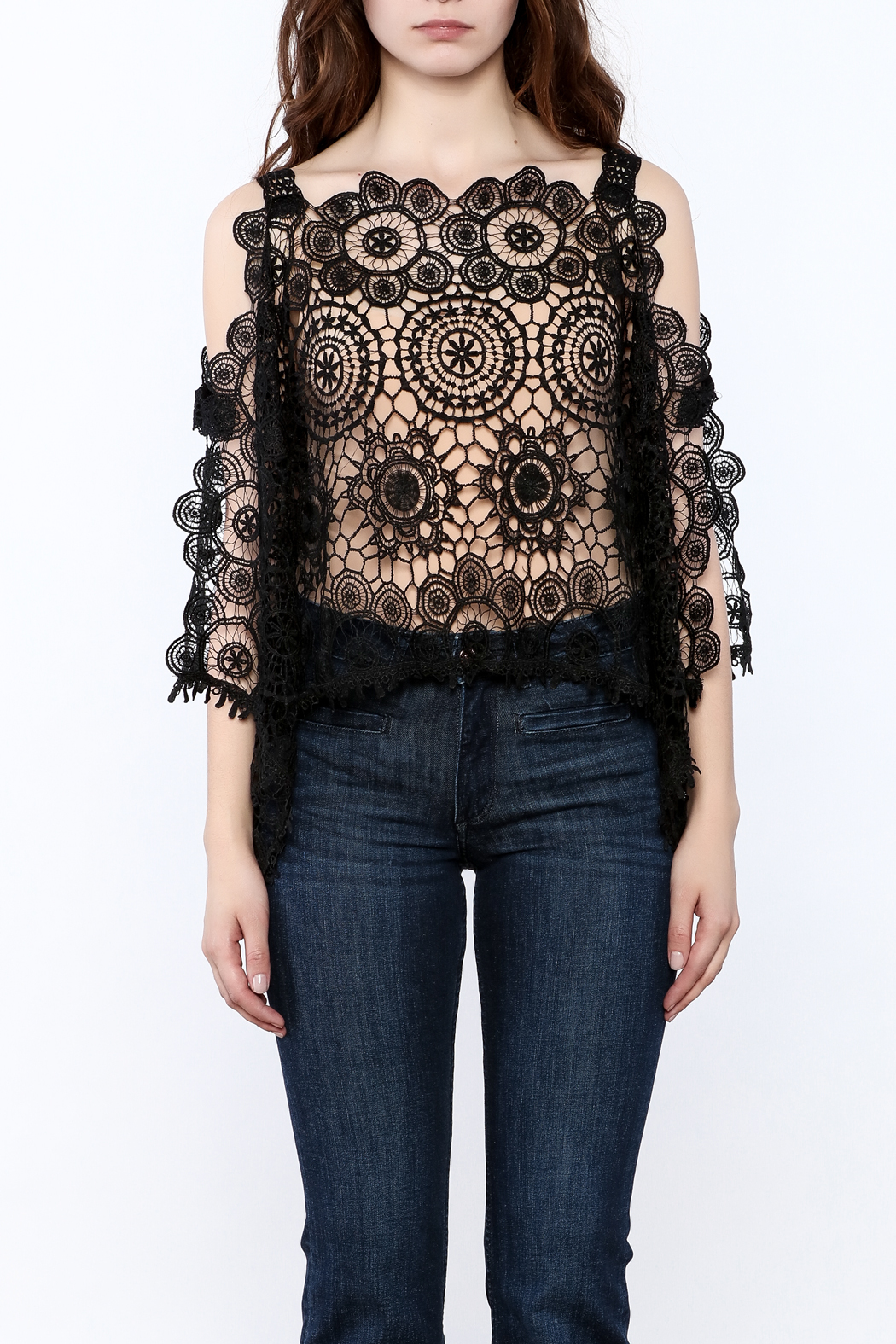 luxxel Lace Poncho Top - Side Cropped Image