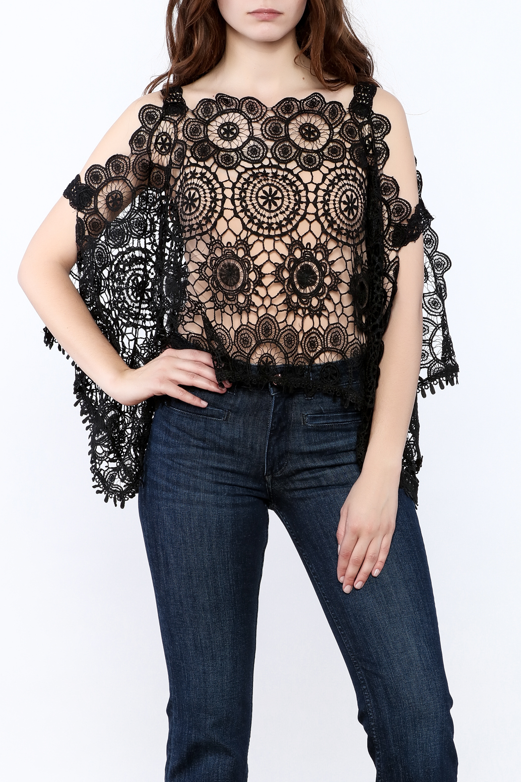 luxxel Lace Poncho Top - Main Image