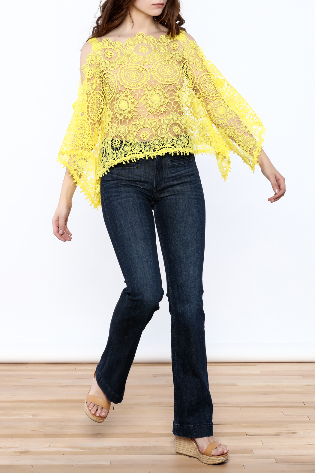 luxxel Lace Poncho Top - Front Full Image