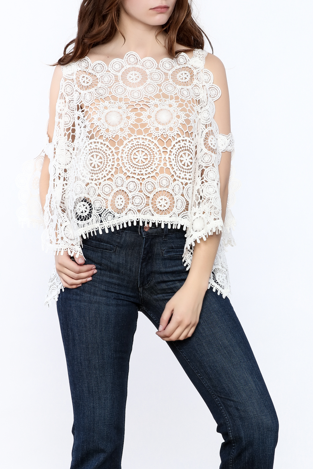 luxxel Lace Poncho Top - Front Cropped Image