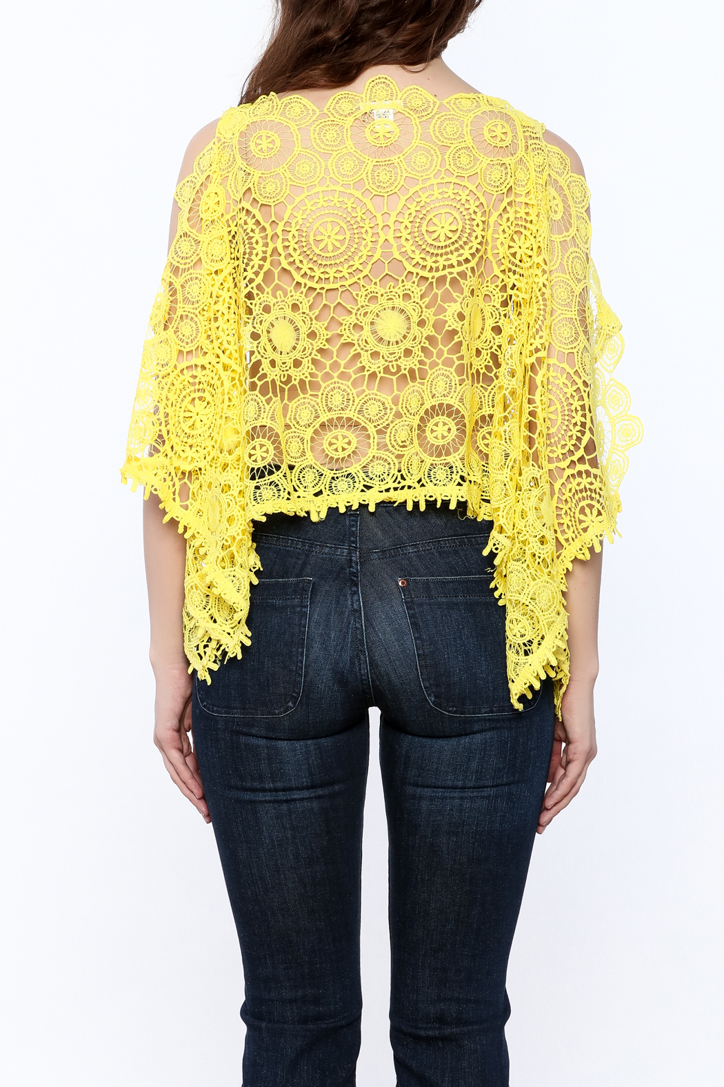 luxxel Lace Poncho Top - Back Cropped Image
