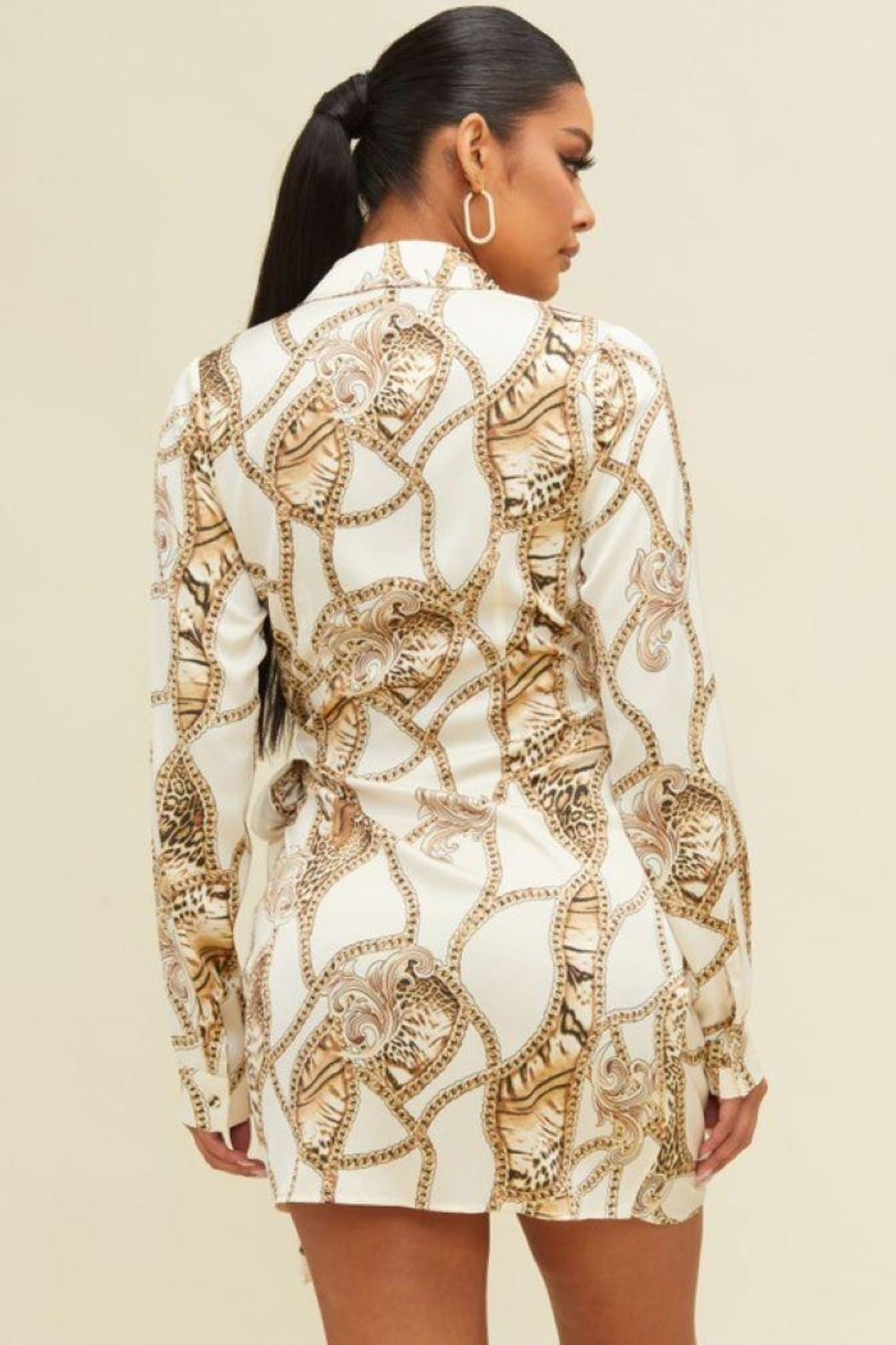 luxxel Leopard Chain Wrap Dress - Front Full Image