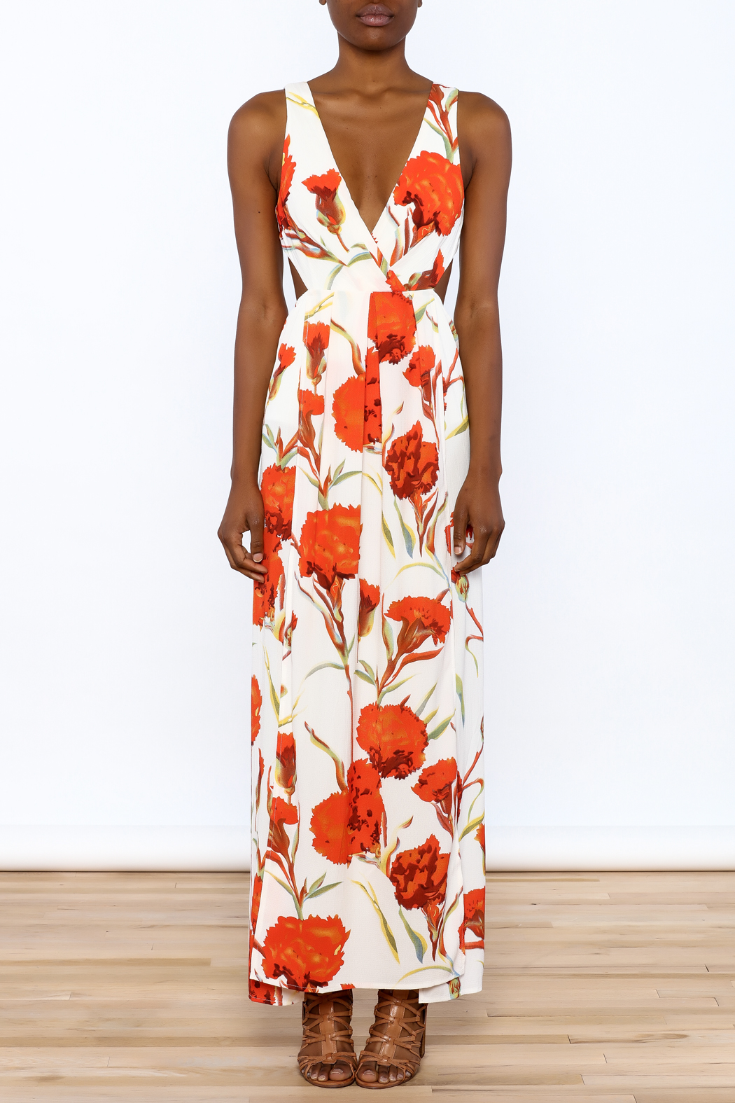 luxxel Orange Floral Maxi Dress - Front Cropped Image