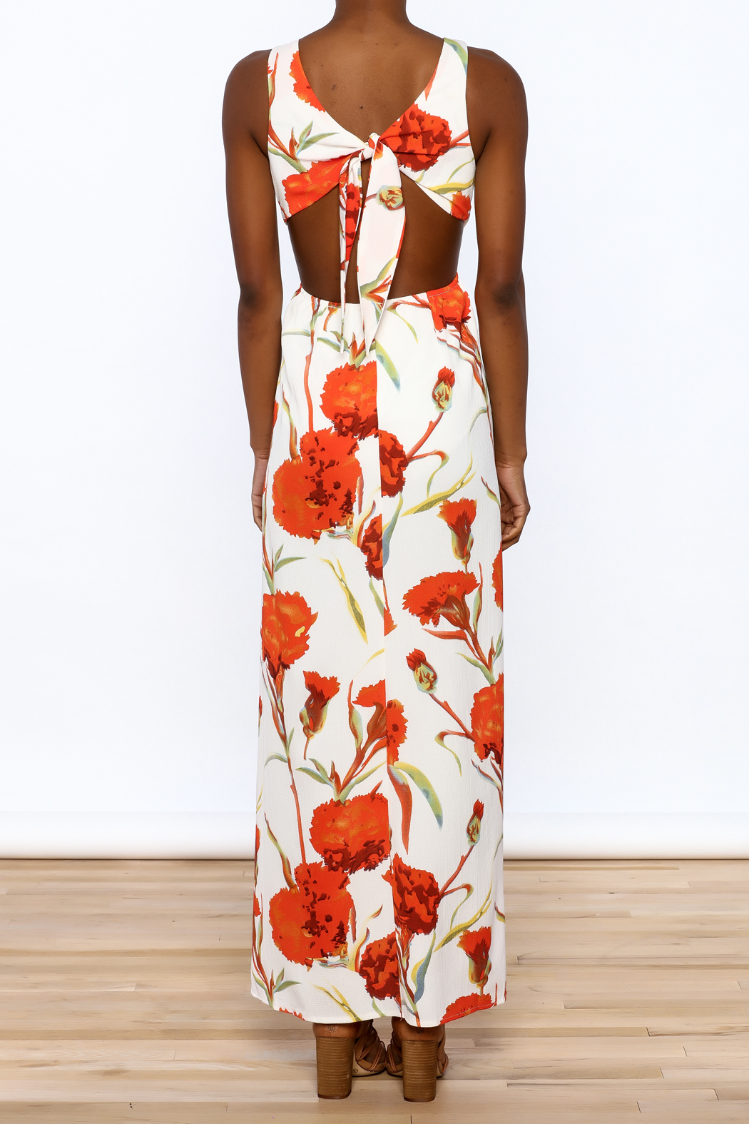 luxxel Orange Floral Maxi Dress - Back Cropped Image