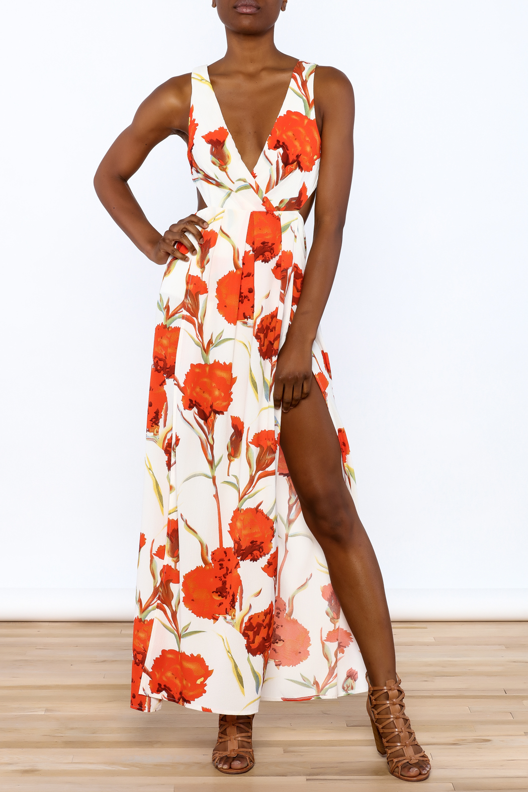 luxxel Orange Floral Maxi Dress - Front Full Image