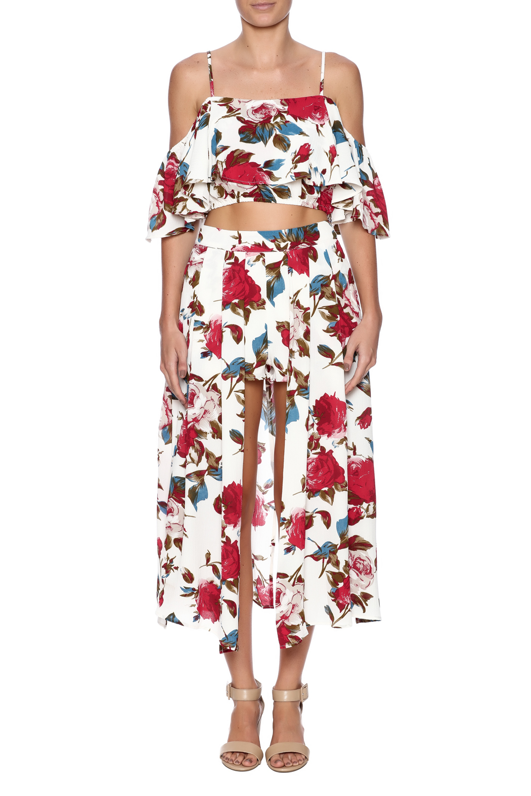 luxxel Rose Printed Matching Set - Front Cropped Image