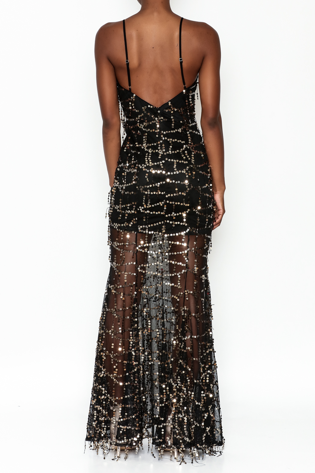 luxxel Mermaid Sequin Maxi Dress - Back Cropped Image