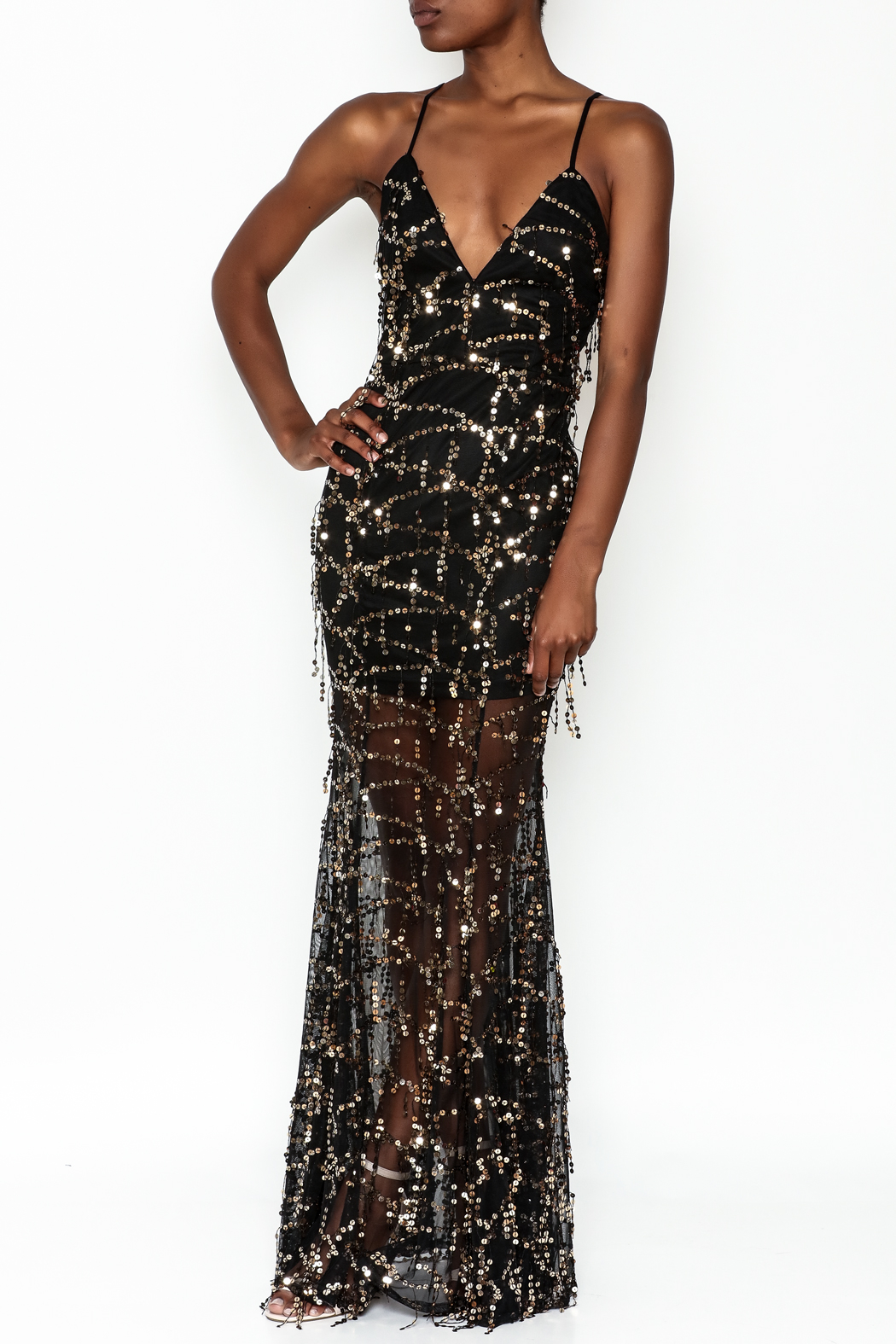 luxxel Mermaid Sequin Maxi Dress - Front Cropped Image