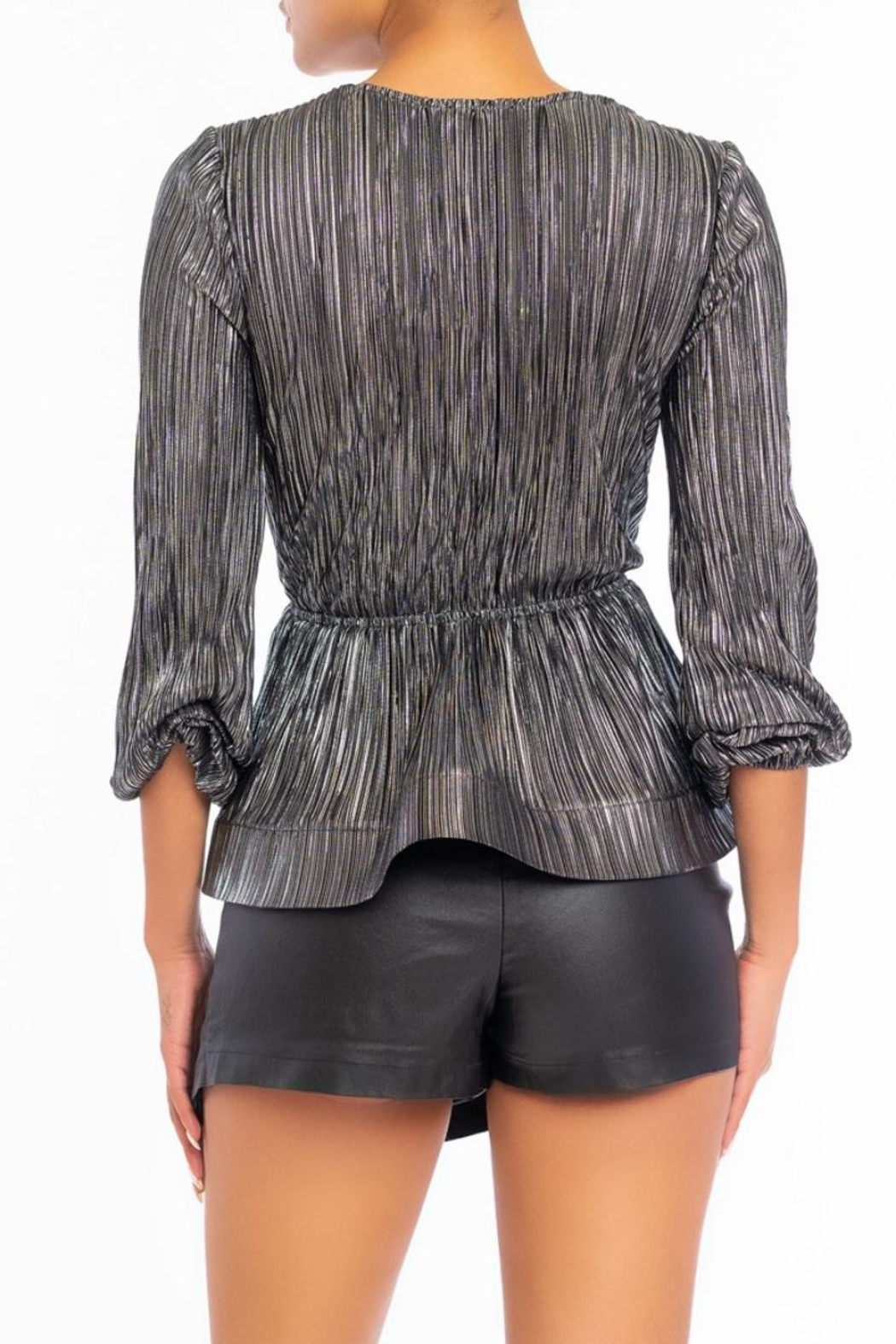 luxxel Metal Pleated Blouse - Front Full Image