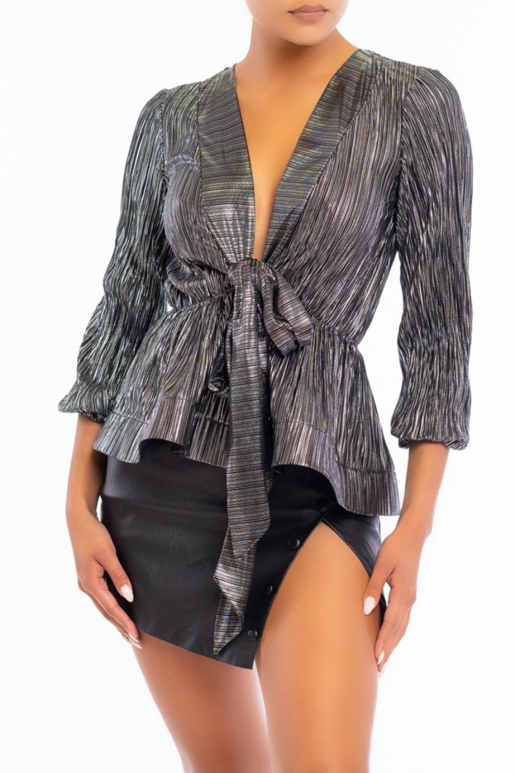 luxxel Metal Pleated Blouse - Main Image