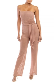 luxxel Metallic Knit Wrap-Jumpsuit - Product Mini Image