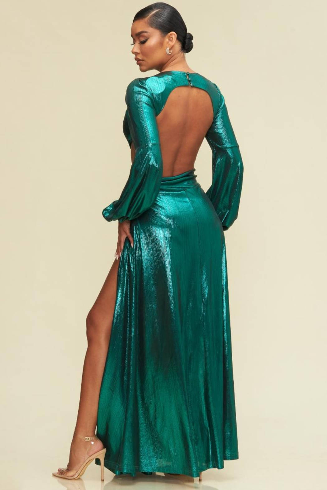 luxxel Metallic Open-Back Maxi - Front Full Image